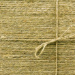 Texture of threads from flax with bow — Stock Photo