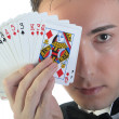 Magician and cards — Stock Photo