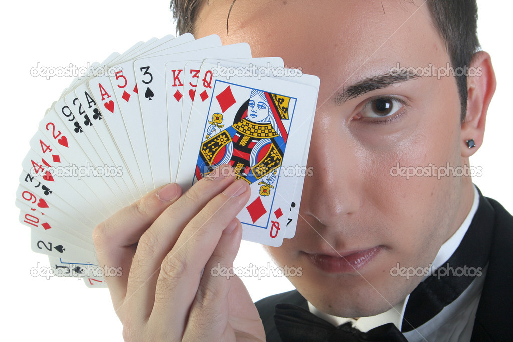 Magician make performance with card deck — Stock Photo #3084300
