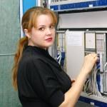 Girl customer engineer of exchange — Stock Photo