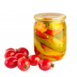 Dispersed tomato and glassed pickled vegetables - Stock Photo