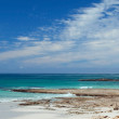 Panoramic of beach on a rocky coast — Stock Photo