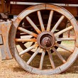Wheel of a wooden wagon - Stock Photo