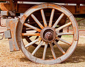 Wheel of a wooden wagon — Stock Photo