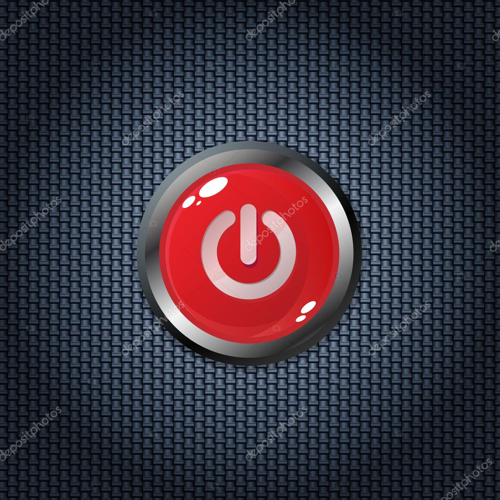 Red power button on carbon fiber texture  Stock Vector #2709465