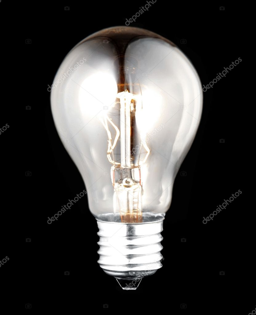 Electric bulb lightened isolated on black background — Stock Photo #3254881