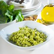 Italian fusilli pasta and pesto — Stock Photo