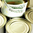 Euro bills on a tin can — Stock Photo