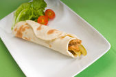 Pita bread chicken roll — Stock Photo