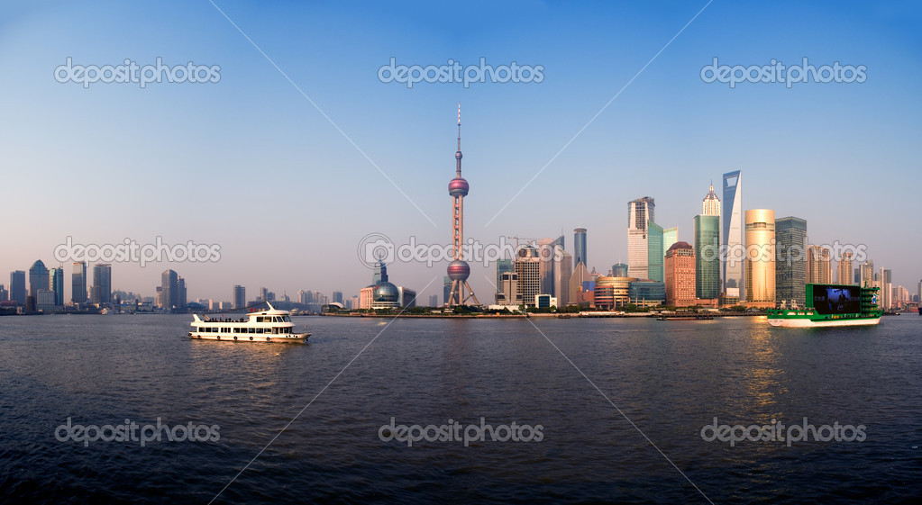 Shanghai pudong finacial district wide panoramic view  — Stock Photo #3422026