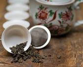 Juego de té chino verde — Foto de Stock