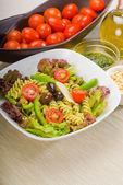 Italian fusilli pasta salad — Stock Photo