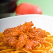 Tomato and chicken pasta — Stock Photo
