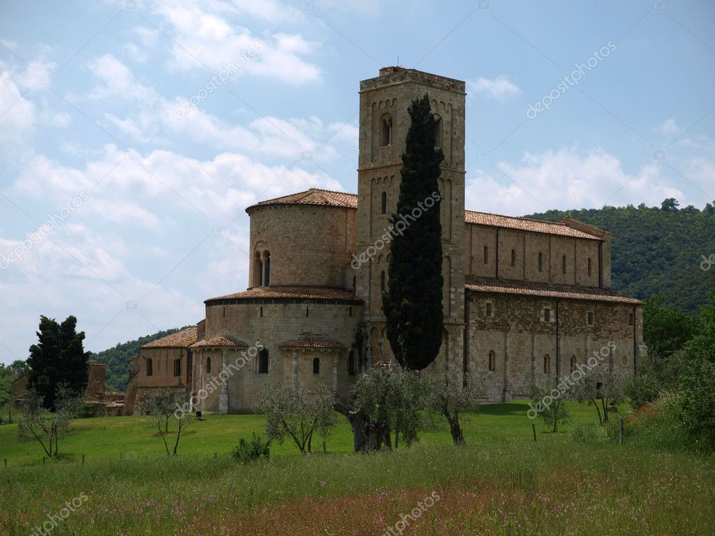 Sant Antimo Abbey near Montalcino in Tuscany, Italy  Stock Photo #3479981