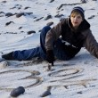 Write on sand — Stock Photo
