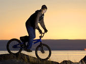 Night biker — Stock Photo