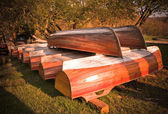 Wooden boats drying — Stock Photo