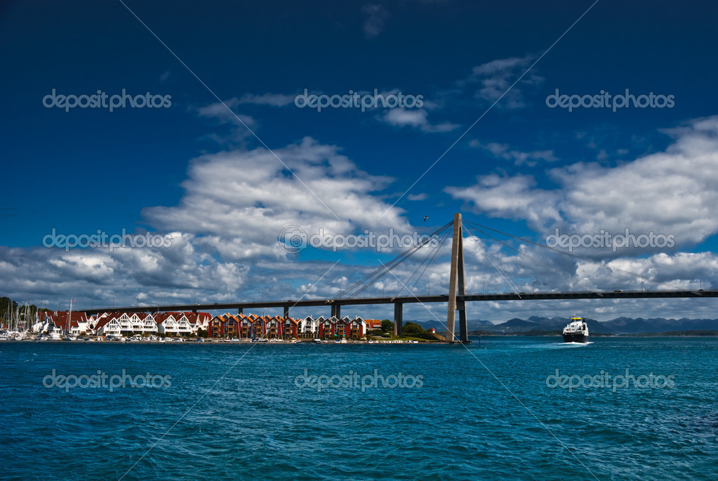 Stavanger town coastline and bridge, Norway   Stock Photo #3152228