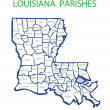 Louisiana With Parishes — Stock Photo