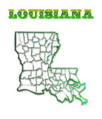 Louisiana With Parish Borders — Stock Photo