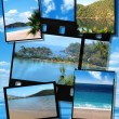 Film strip and film plates with beautiful blue lagoon image — Stock Photo