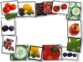 Film frames with fresh healthy food images, border on white b — Stock Photo