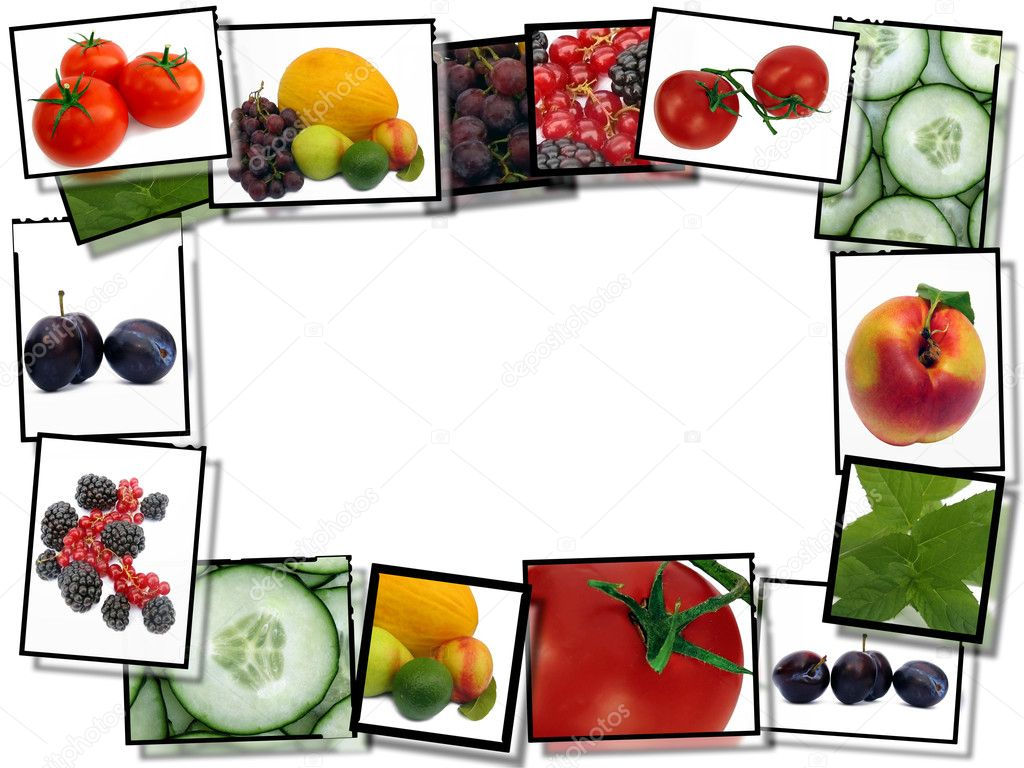 Film frames with fresh healthy food images, border on ...