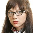 Portrait young pretty girl with glasses — Stock Photo
