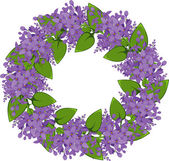 Vector wreath of twigs of lilac — Stock Vector
