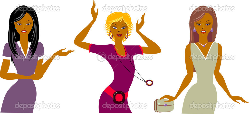 Three beautiful girls: business lady, dancer and diva, Vector illustration. EPS 8, AI, JPEG — Stock Vector #2785983