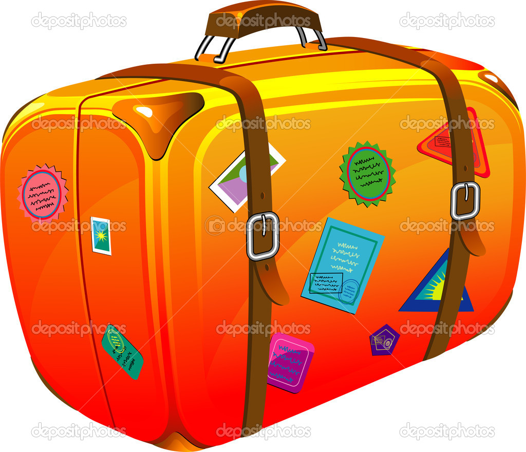 Travel suitcase with stickers. Vector illustration. Over white. EPS 8, AI, PEG — Stock Vector #2963088