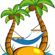 Island with palm trees and a hammock — Stock Vector