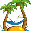 Island with palm trees and a hammock - Stock Vector