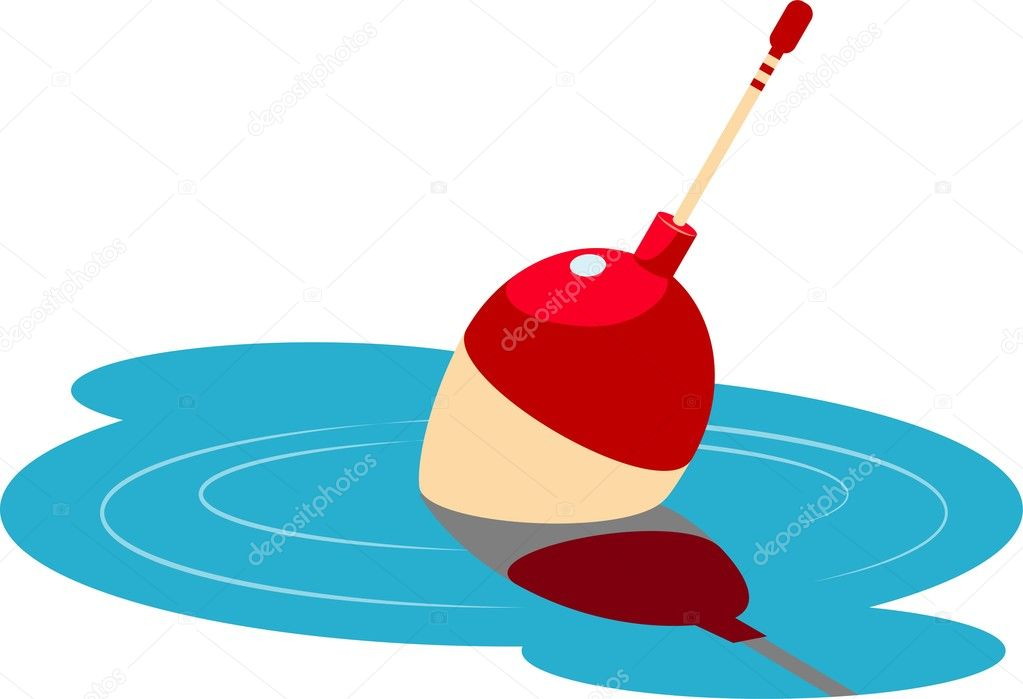Fishing float floating in the water. Vector illustration Over white. EPS 8, AI, JPEG — Stock Vector #3047336