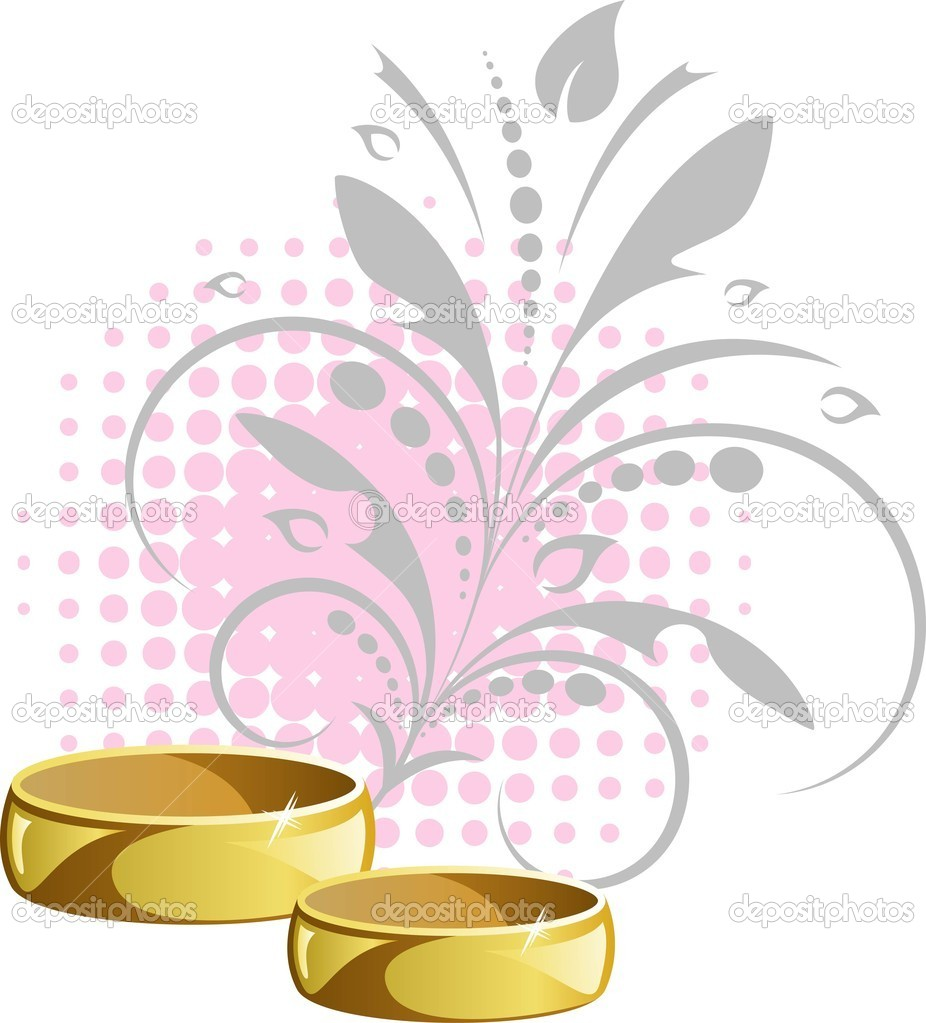 Wedding rings on floral background. EPS 8, AI, JPEG — Stock Vector #3188108