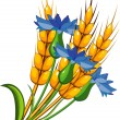 Wheat with cornflowers — Stock Vector #3282388