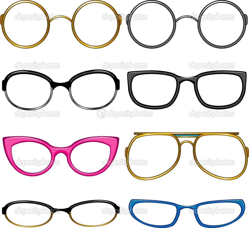 Collection glasses for every taste!. Simply dress them on the nose! EPS 8, AI, JPEG — Stock Vector #3373414
