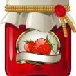 Jar of strawberry jam - Stock Vector