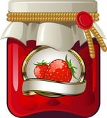 Jar of strawberry jam — Stock Vector