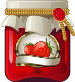 Jar of strawberry jam — Stock Vector