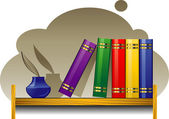Bookshelf with books and inkwell — Stock Vector