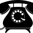 Retro telephone. Silhouette - Stock Vector