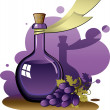 Old bottle and a bunch of grapes — Stock Vector