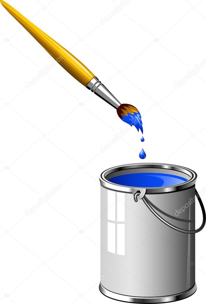 Bucket of blue paint and a brush. Over white. EPS 8, AI, JPEG — Stock Vector #3916731