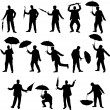 Man and umbrella silhouettes — Stock Vector