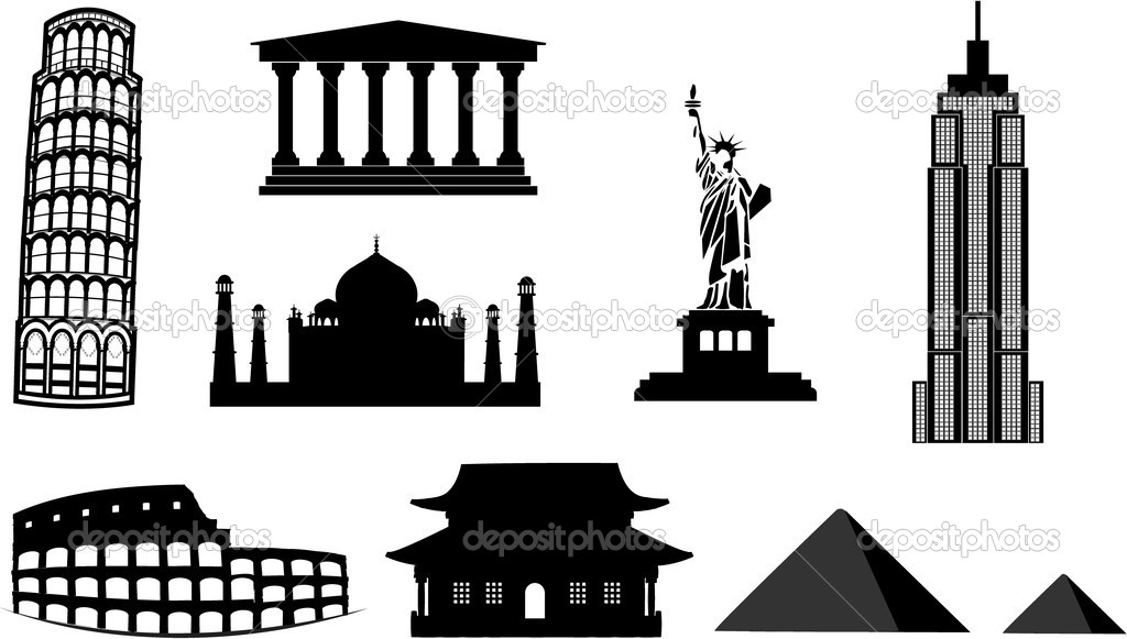 Landmarks silhouettes available in vector format  Stock Vector #3906812