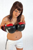 Beauty with boxing gloves — Stockfoto