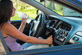 Drunk female driver — Stock Photo