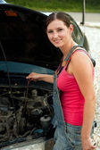 Woman with her broken down car — Stock Photo