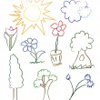 Child Drawing Spring Elements - vector — Stock Vector